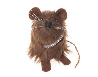 Chewbacca Mouse - Star Wars collectable art rat artists mice felt mouse cute soft sculpture toy stuffed plush doll ornament gift for men dad