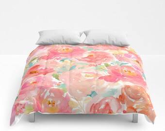 Pink Floral Duvet Cover Peony Pink Comforter Dorm Bedding Twin Xl Floral  Girls Bedding King Queen Full Duvet Covers Pink Abstract Bed Set