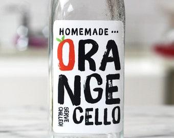 Orangecello Labels, Retro Style, Set of 12 or 18