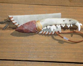 Native american COYOTE jawbone Knife  #172