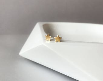 Tiny star studs - Tiny gold brass star studs earrings with sterling silver posts - gold star earrings - tiny studs - silver and gold