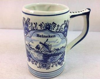 Vintage Heineken Beer Mug - Heineken Beer Stein - Delft Blau Holland Blue Glass