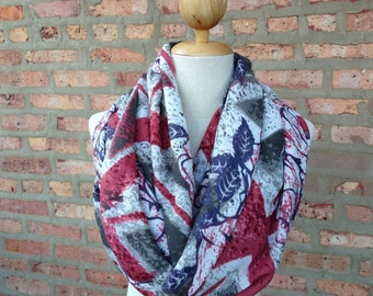 British Flag with Rose Print Scarf, Infinity Scarf, Spring Scarf, Women's Scarf