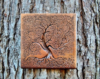 Tree of Life Garden Gift Stone Sculpture, Rustic Tree Sculpture Garden Art Wall Plaque, Outdoor Wall Art Front Porch Garden Decor