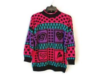 Vintage 1980s Oversize Sweater Broken Heart 1980's USA Custom Design size XL
