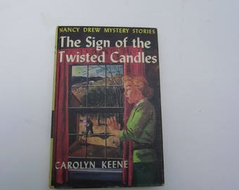 Nancy Drew The Sign of the Twisted Candles 1960s original text, Nancy Drew 1960s, Nancy Drew vintage book,  Nancy Drew mystery