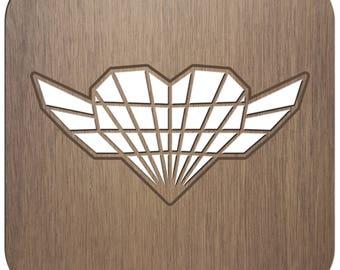 HEART - ORIGAMI - laser cut wood - coasters