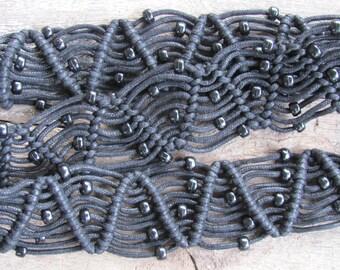 Vintage Belt; Boho Belt; Black Cotton Cord Macrame Belt; Vintage Hippie Belt; Any Size Black Cord & Plastic Bead Black Macrame Belt Vtg