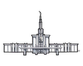 Denver Colorado Temple Drawing, LDS Temple Print, Architectural Drawing, Grayscale