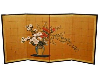 Japanese Flower Vase on Gold Leaf Screen