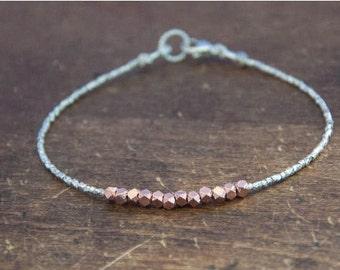 SALE Nugget bracelet - rose gold on pure silver, minimalist bracelet, beaded, beadwork