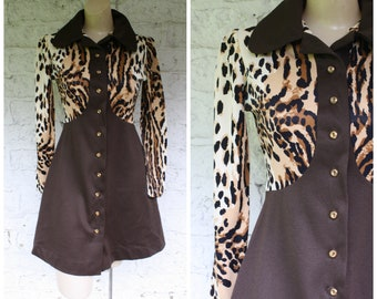 1970s Leopard Dress / Vintage Mini Dress / Animal Print Dress / Vintage 70s Mod Mini Dress / Vintage Animal Print Mini Dress S/M