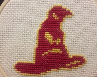 Magic hat cross stitch complete, house colors, Easter gift, wizard hat cross stitch complete, modern cross stitch