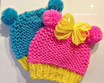 Loom Knit Baby Hat Pattern with Ears | Animal ears | Loomahat