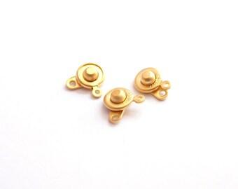 10 pcs- MAtte Gold Plated BRASS Socket Clasps, Ball Claps-15x9mm (010-038GP)