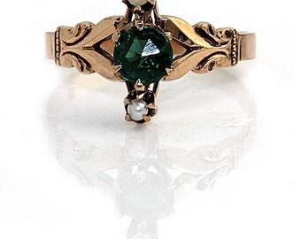 Emerald Engagement Ring Rose Gold Ring Emerald Doublet Antique Victorian Engagement Ring .25ctw 14K Alternative Engagement Artdecodiamonds