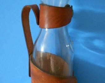 Vintage wine bottle with leather holder one liter made by El Cid/Wine bottle with leather wrapped handle