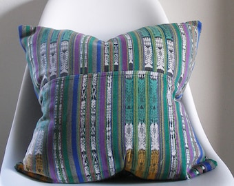 Vintage Guatemalan Pillow Cover - 17X17 - Hand woven -  hand dyed - hand tied -bohemian -  ready to ship