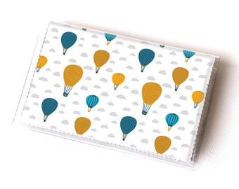 NEW Handmade Vinyl Card Holder - Balloon Ride  / card case, vinyl wallet, women's wallet, small wallet, hot air balloon, cute, stars, clouds