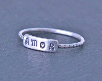 Personalised Silver Ring, Custom Silver Name Ring, Custom Date Ring, Hand Stamped Ring, Stacking Ring, Personalized Ring, Silver Bar Ring