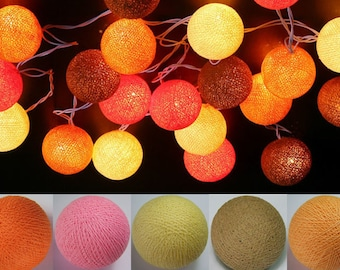 20 Orange Brown Cream Halloween Cotton Ball String Lights Fairy Lights Christmas
