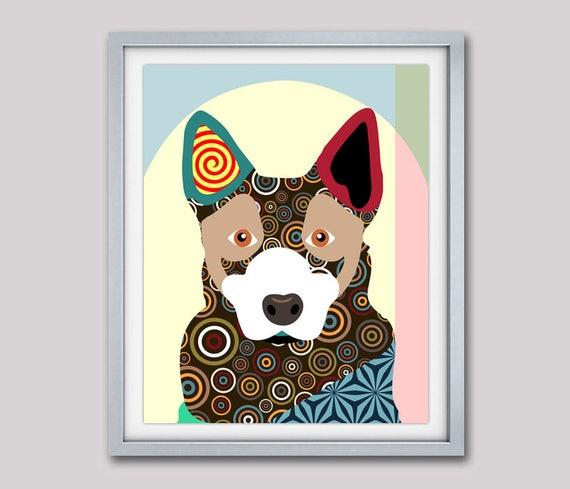 Australian Cattle Dog Pop Art Print Painting, Dog Poster, Australian Cattle Dog, Dog Lover Gift,  Dog Portrait