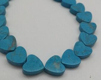 Turquoise  Howlite Heart Shaped Bead