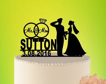 Military Wedding Cake Topper, Wedding Cake topper , Custom Wedding Topper, Rustic Wedding Topper, Military Wedding cake Topper L2-01-003