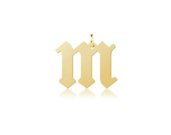 10K Solid Yellow Gold Custom Lowercase Old English Initial Letter Pendant - A-Z Any Alphabet Necklace Charm