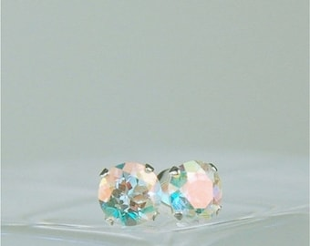 MothersDaySale Opalescent Topaz Stud Earrings Sterling Silver 5mm Round 1.10ctw