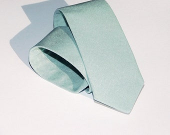 Mist linen necktie. Mint seafoam green tie standard, slim, or skinny linen tie