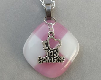 I Love my Soldier Necklace Pendant w/ Charm Hand Crafted in USA Fused Glass Pink / White
