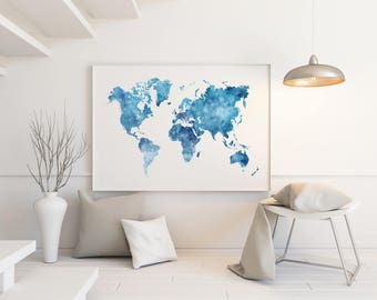 Orange watercolor world map large world map wall art large blue watercolor world map large world map wall art large world map poster gumiabroncs