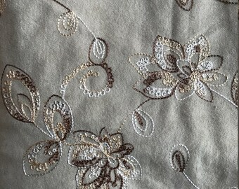 Faux Suede Fabric with machine embroidery – creamy tan color with floral in brown and white tones