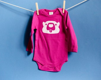 Organic Cotton Beaver Long Sleeve Onesie in Pink with White / 12-18 Months