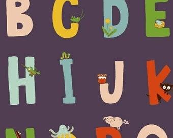Heather Ross Kinder Fabric, alphabet letters on orange, Windham Fabrics SKU 43481-7, half yard quilting cotton, letter fabric