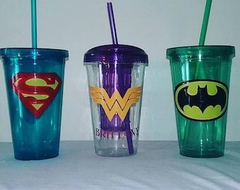 16oz Personalized superhero tumbler cup