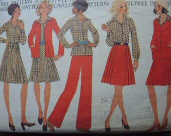 vintage 1970s McCalls sewing pattern 3957 misses jacket blouse skirt and pants  size 12