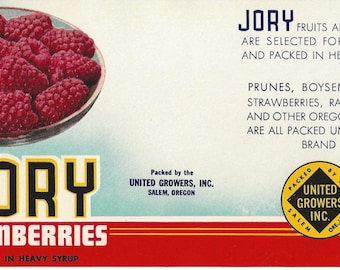 Jory Loganberries Vintage Can Label, 1950s