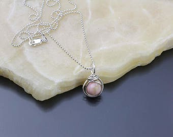 October Birthstone Necklace, Pink Opal Gemstone Pendant Sterling Silver, Wire Wrapped Pink Gemstone, Birthday Gift, Peruvian Opal Necklace