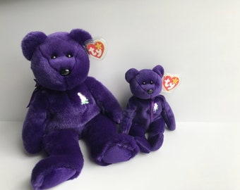 princess di beanie baby, diana beanie baby, 1997 beanie baby, vintage beanie baby, purple plush toy, collectors item, vintage, royal wedding