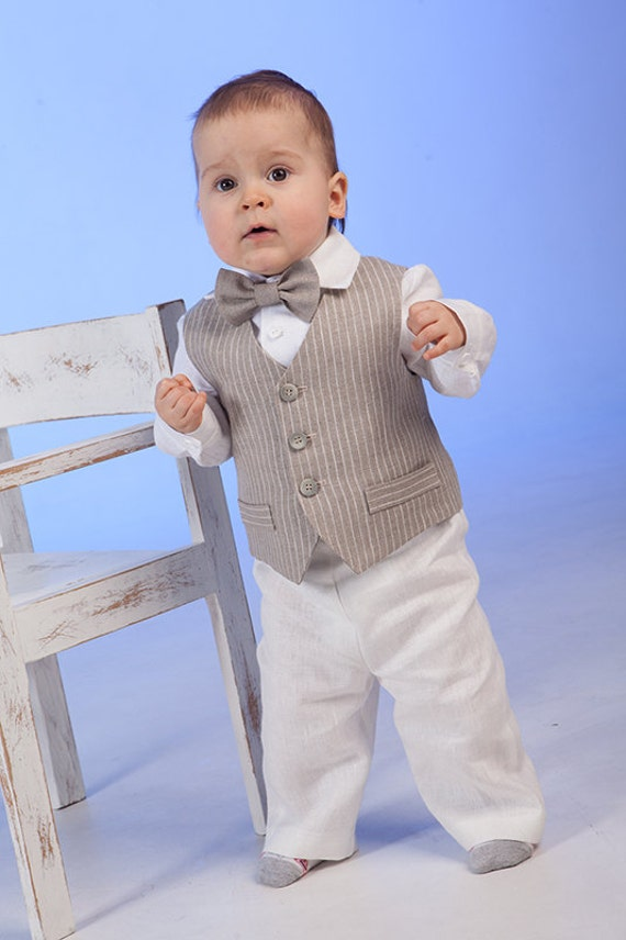 Ring bearer outfit Baby boy linen suit Baptism outfit 1st