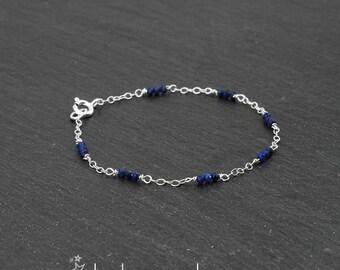 Lapis lazuli faceted rondelles gemstone bracelet, sterling silver 925