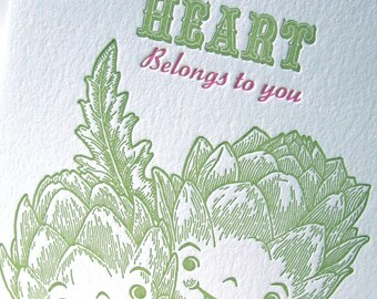 Letterpress anniversary card My Heart belongs to you Valentine's