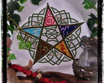Five Elements Pentacle Embroidered Altar Cloth Only