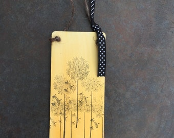 Handmade wooden hanging plaque - wild flowers - dandelion clocks - dragonfly - fields- gifts for the home-home decor-teachers present