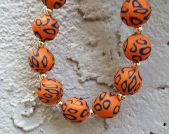 Orange and Blue Polymer Clay Beaded Bracelet, Game Day Jewelry, Florida Gators, UF Jewelry, Gator Jewelry, Orange and Blue Jewelry