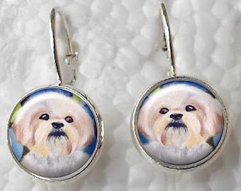 Boucles d'oreilles Shih Tzu ~ Art Original ~ levier de boucles d'oreilles ~ chien peintures ~ boucles d'oreilles de chien ~ April Birthday