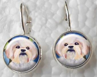 Shih Tzu Earrings ~ Original Art ~ Lever Back Earrings ~ Dog Paintings ~ Dog Earrings ~ April Birthday