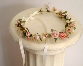 Peach Woodland Bridal bridal party flower crown Spring Wedding hair wreath accessories rustic dried floral garland halo bridesmaid circlet